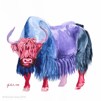 Technicolor Bull in Red Boots