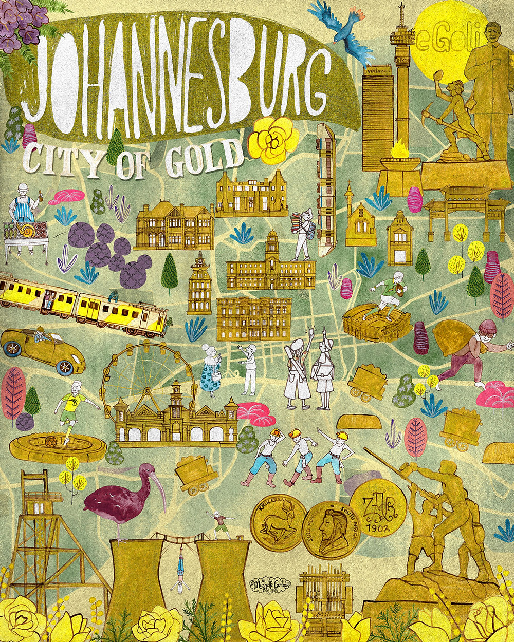illustrated map of Johannesburg