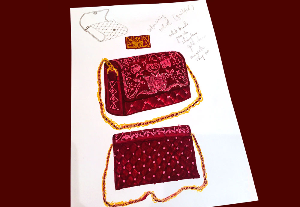 An illustration of a red beaded velvet bag