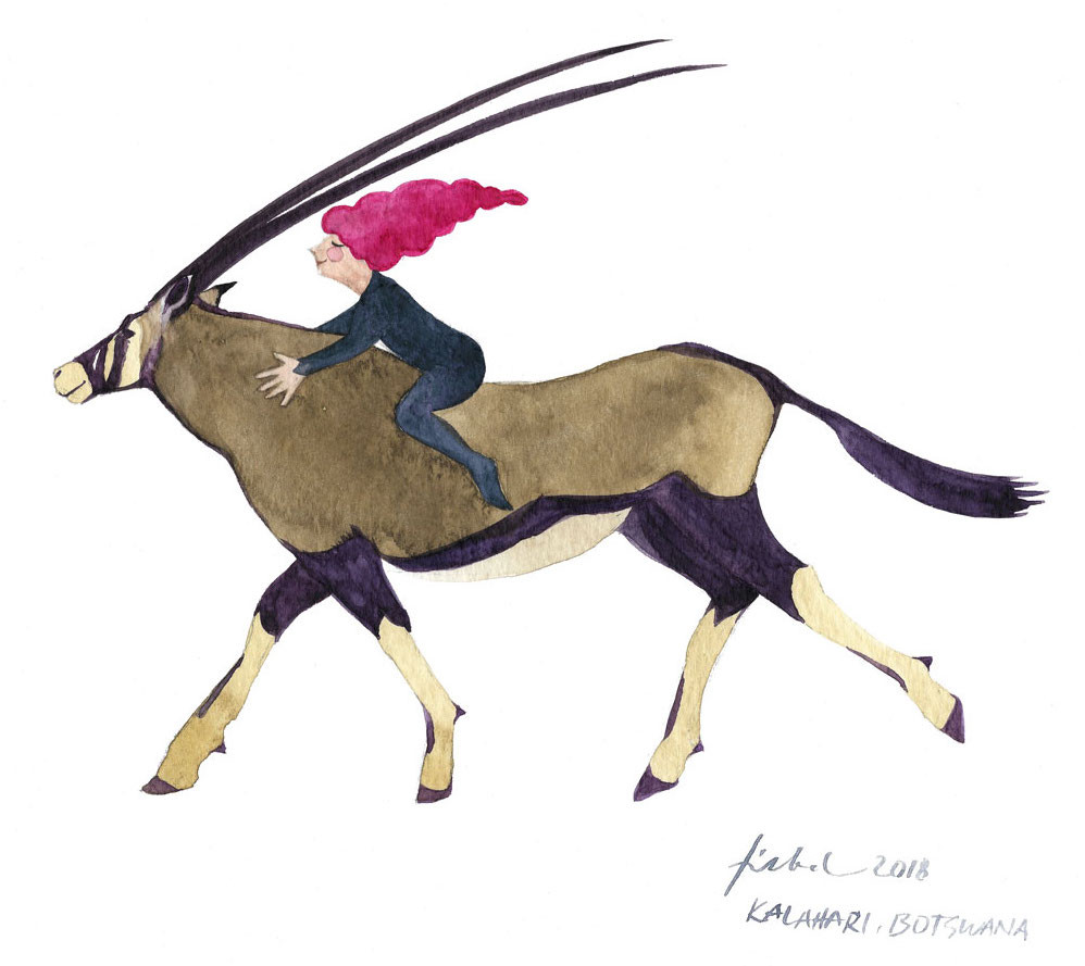 A watercolor painting of a cone-haired fairy riding an oryx.