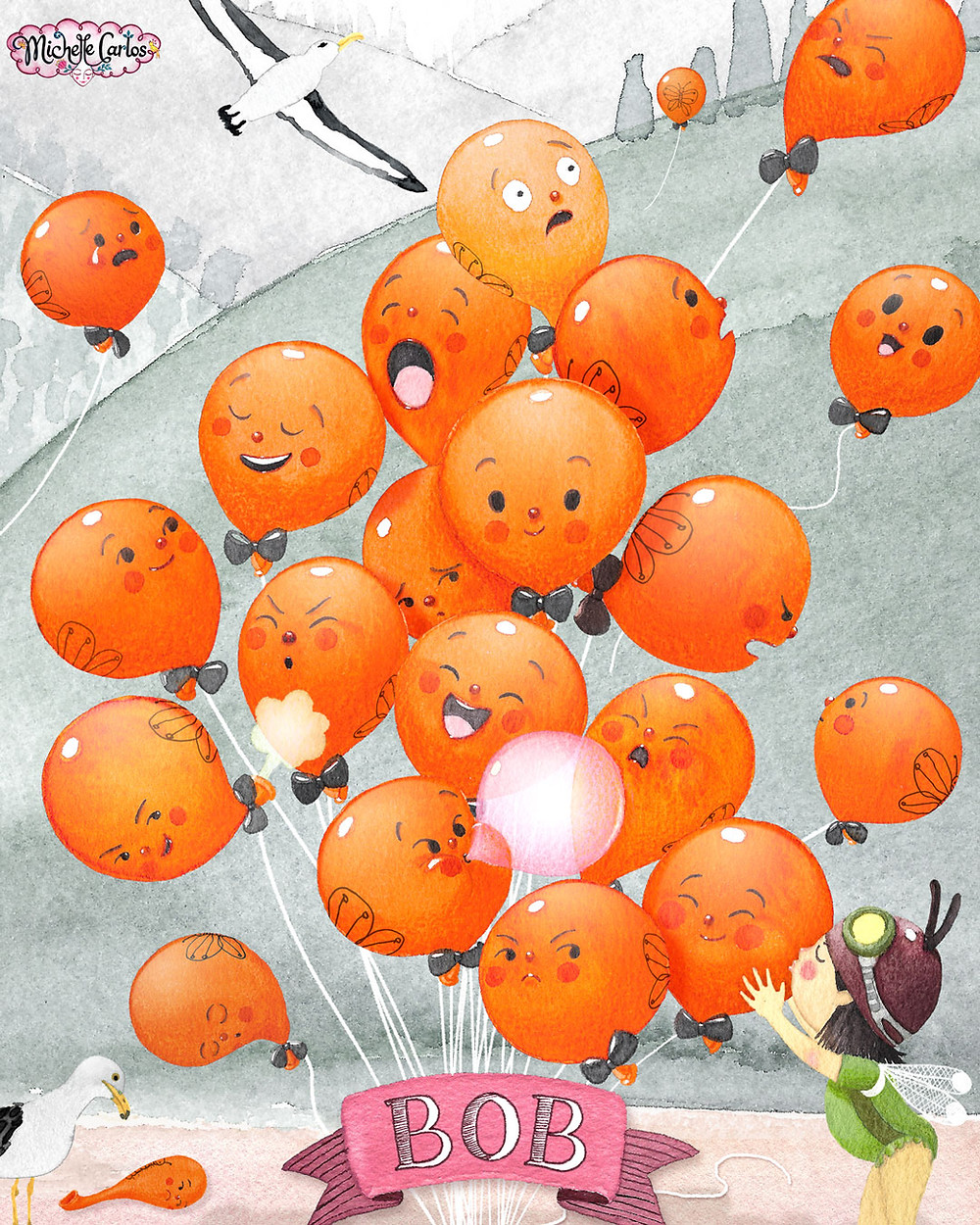 a bundle of balloons with faces