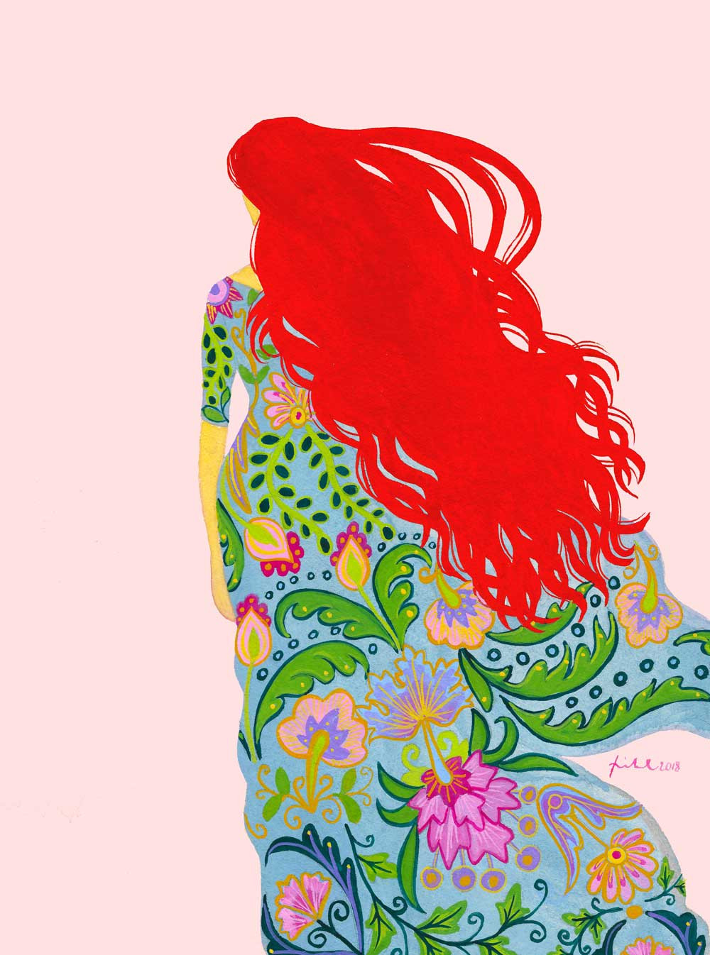 An illustration of a woman with a red hair and billowy blue floral dress standing against a flat pink background