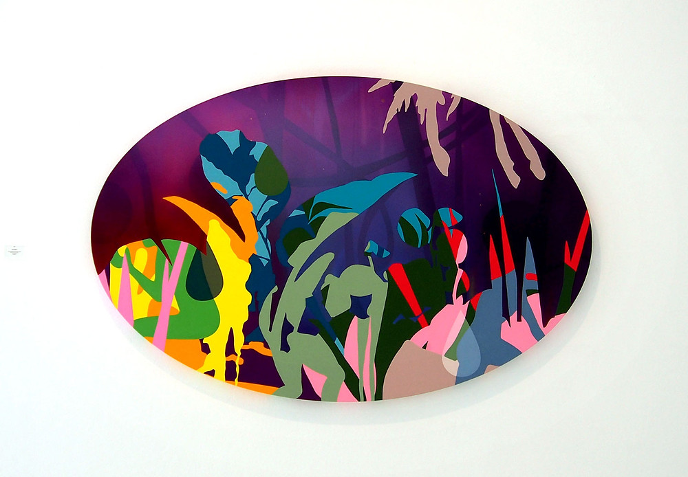 An oblong-shaped canvas painting of abstracted colorful foliage set against a white background
