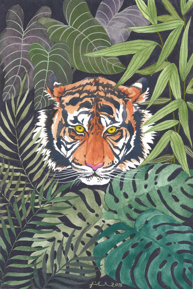 A gouache painting of a tiger's head surrounded by tropical leaves