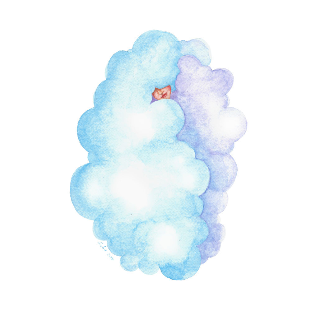A watercolor painting of a girl wrapped in a blue and purple cloud
