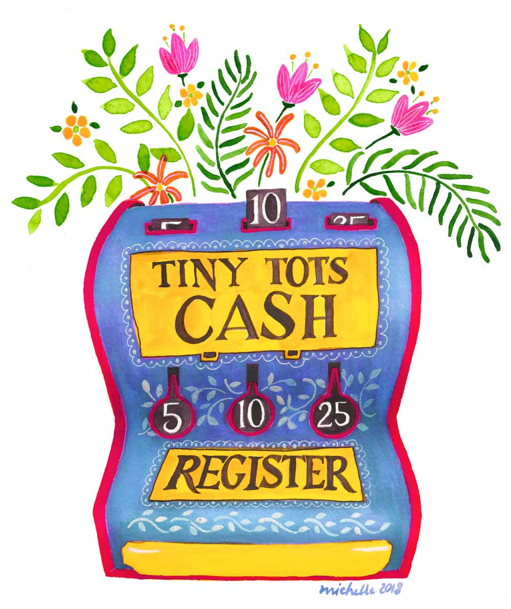An illustration of a toy cash register with flowers sprouting from the top