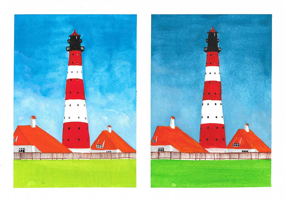 Painting of two identical red and white lighthouses against a blue sky
