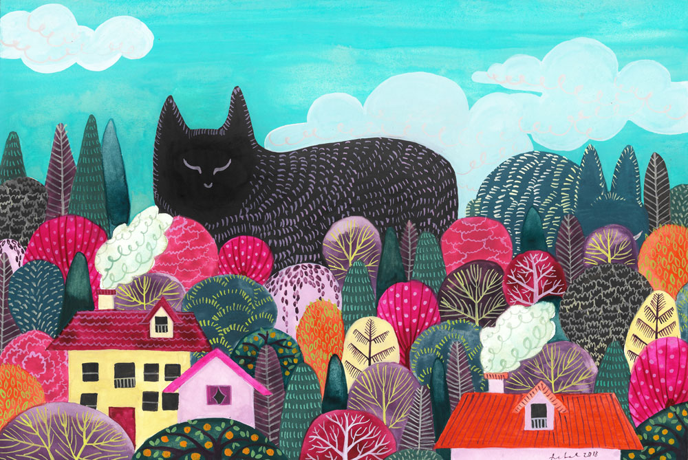 An illustration of a giant black cat and green bunny concealed amongst colorful trees and houses