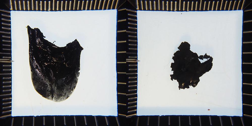 Two black paint blotches