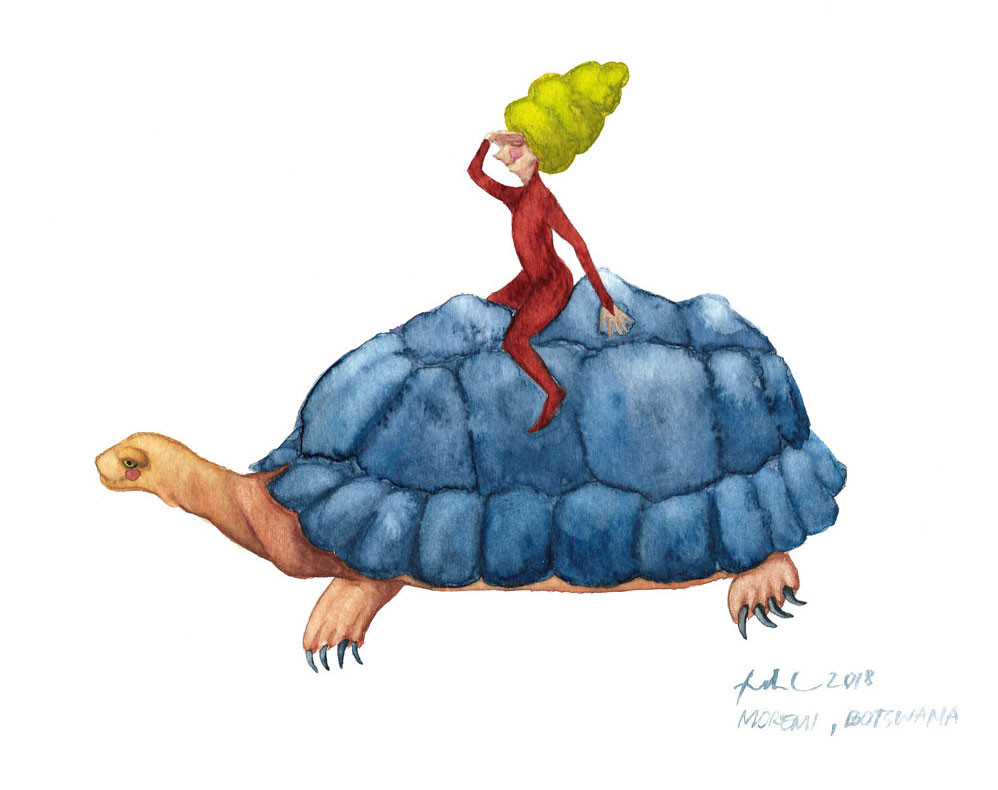 A watercolor painting of a cone-haired fairy riding a blue-shelled tortoise
