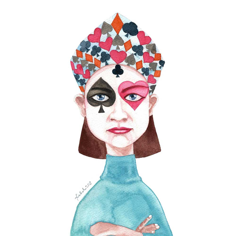 A watercolor painting of a poker-faced girl in turquoise turtle neck shirt with a crown of playing card suits