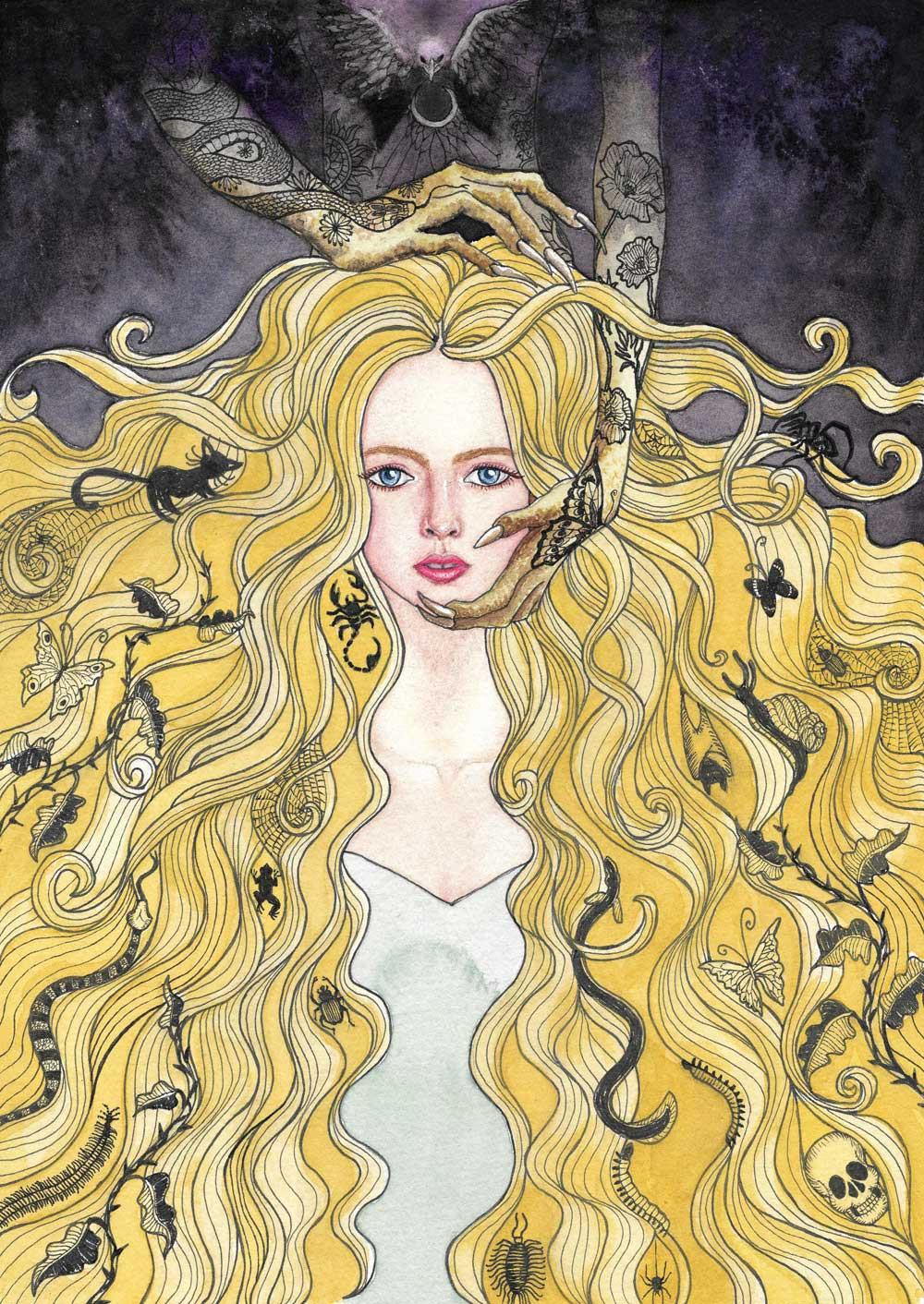 An illustration of a woman with long blond hair full of critters and a vague tattooed dark figure behind her holding her face