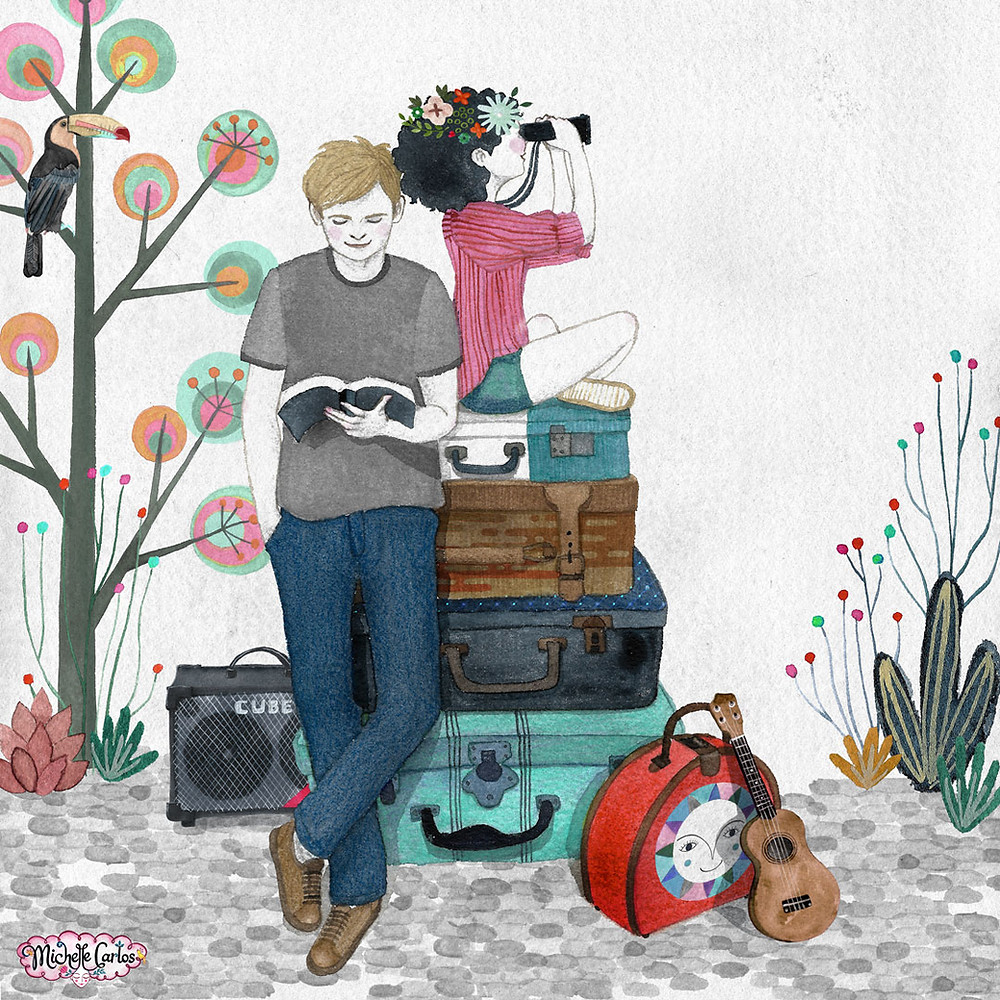 a girl with a floral wreathe sitting on top of piled luggages and looking through a pair of binoculars and a boy standing beside her reading a book