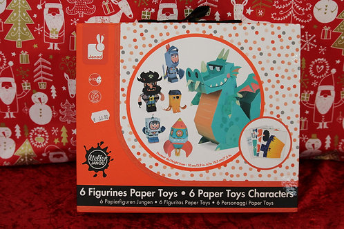 6 figurines paper toys