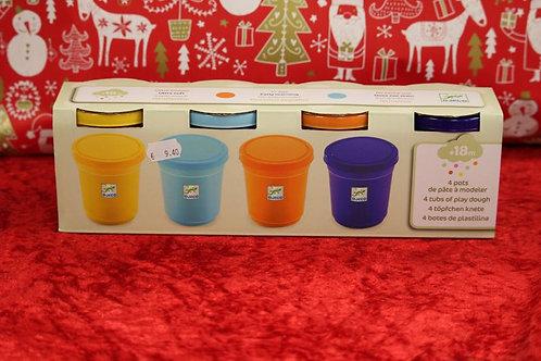 4 pots pâte à modeler jaune/bleu/orange/violet