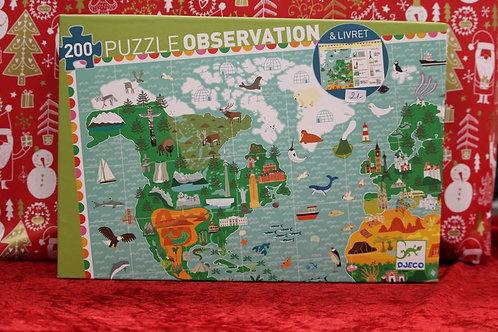 Puzzle d'observation 200 pcs Tour du monde