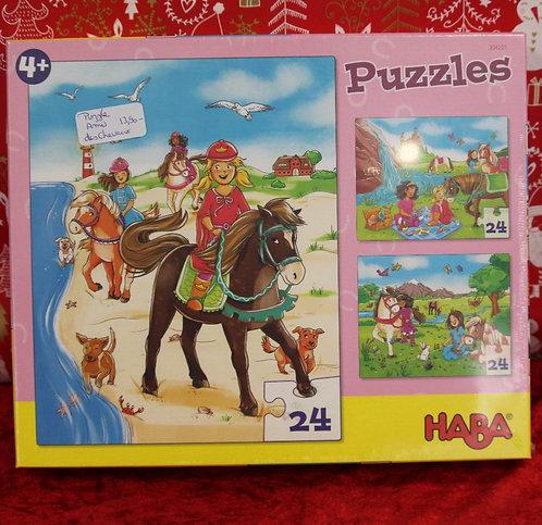 Puzzles 3x 24 pcs - Amis des chevaux
