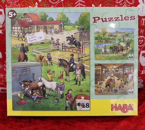 Puzzles 3x48 pcs - Le centre équestre