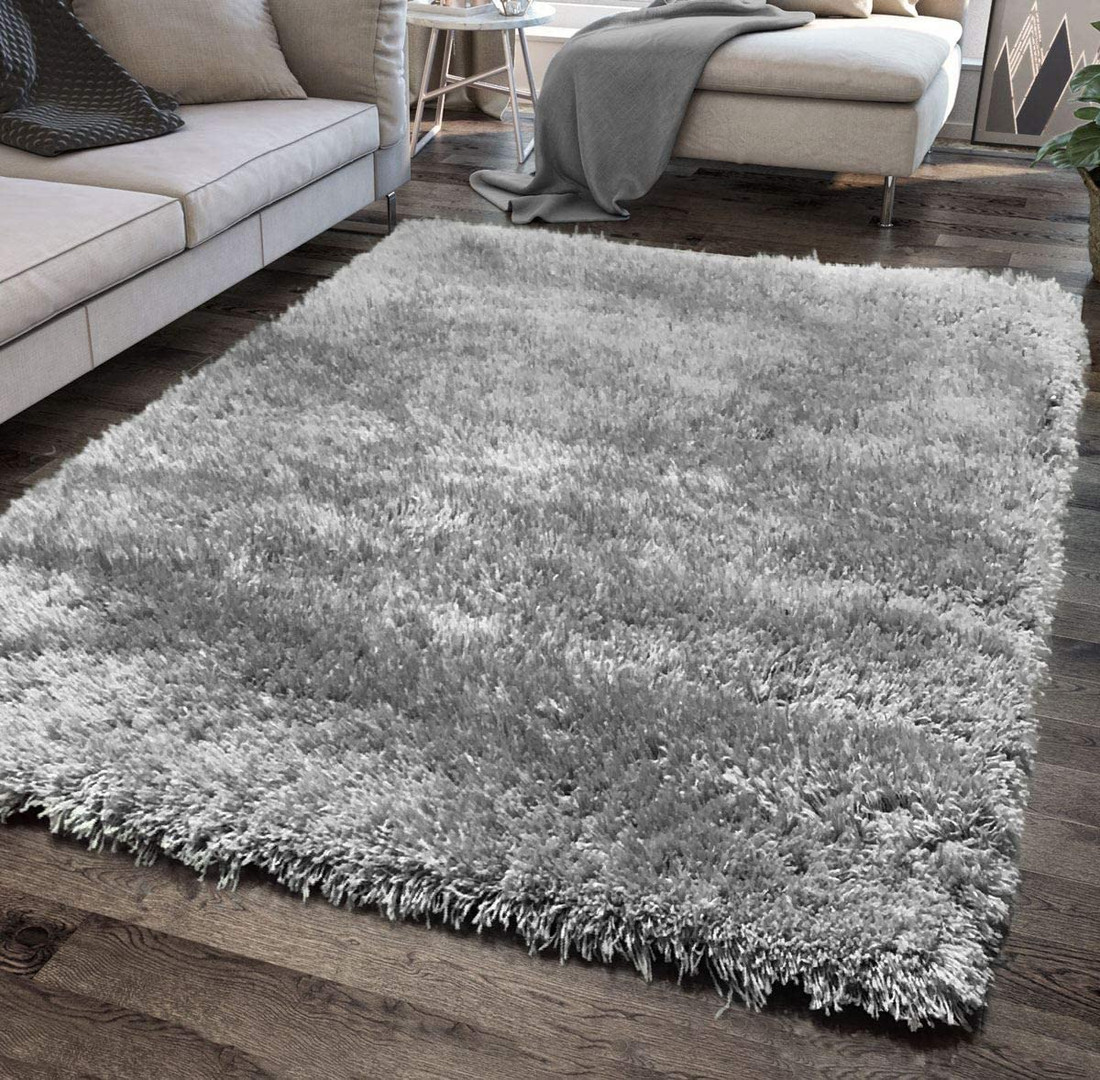 Soft Fluffy Shaggy Rug in Grey