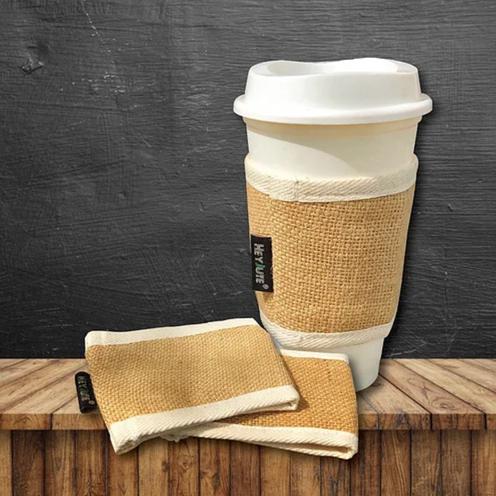 HeyJute Jute Coffee Cup Sleeves Beige Colour