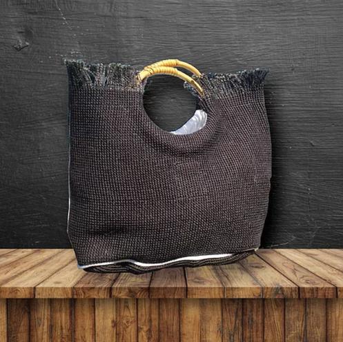 Black HeyJute Eco Chic Jute Handbag with wooden loop handles