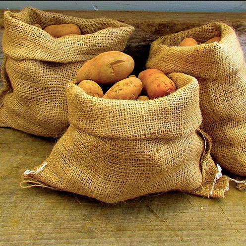 3 jute gunny sacks filled with potatoes