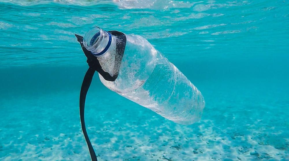 single-use plastic bottle floating in blue ocean water