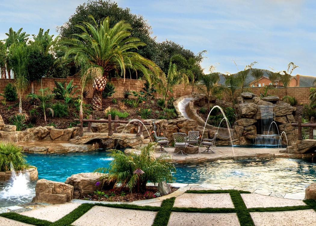 Rock Pool in Sloped Backyard