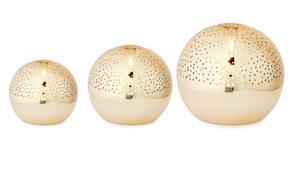 Set of 3 Illuminated Spheres. Gold