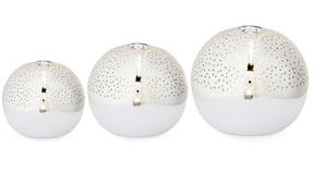 Set of 3 Illuminated Spheres. Silver
