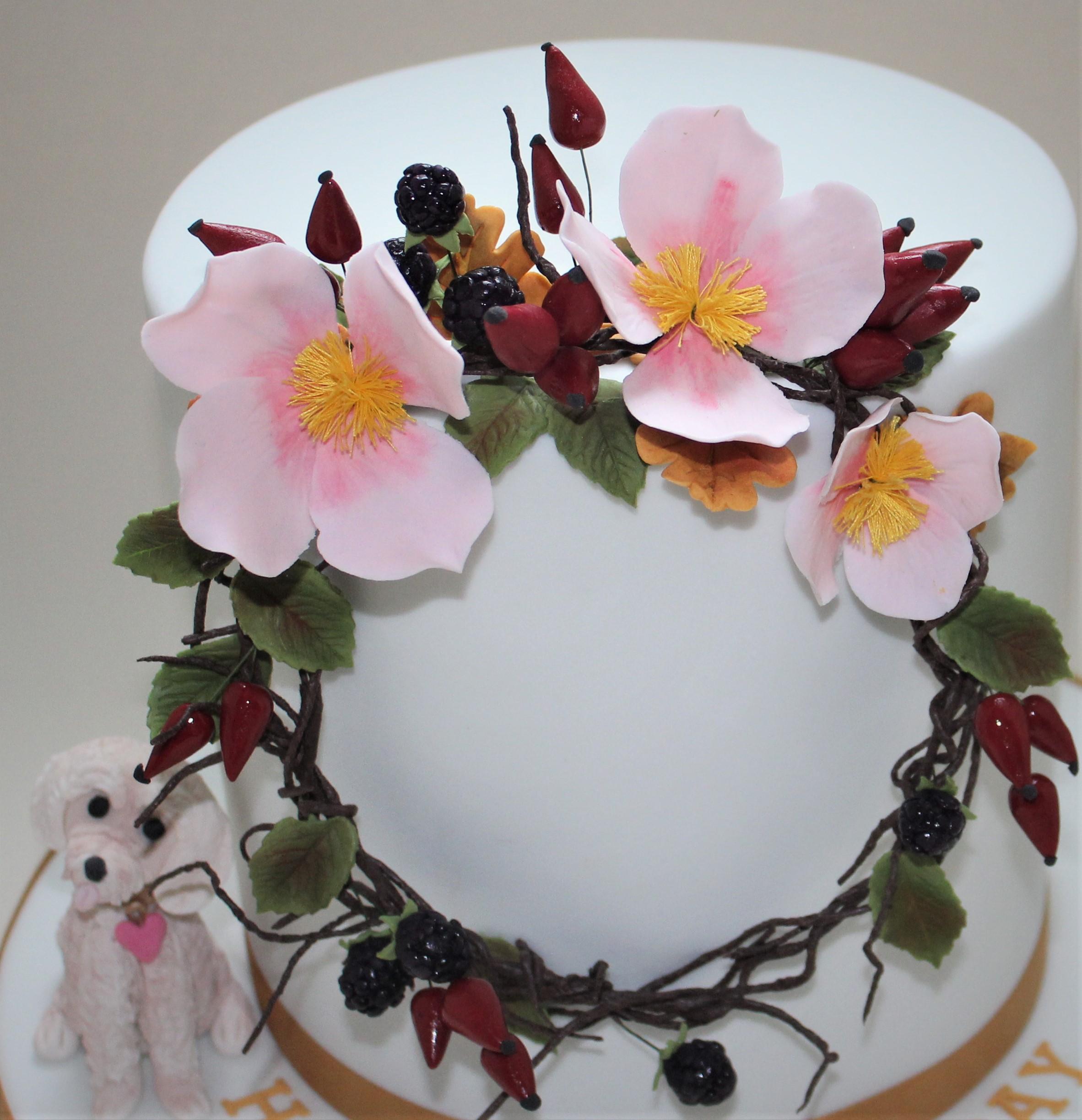 Floral hoop birthday cake  (3)
