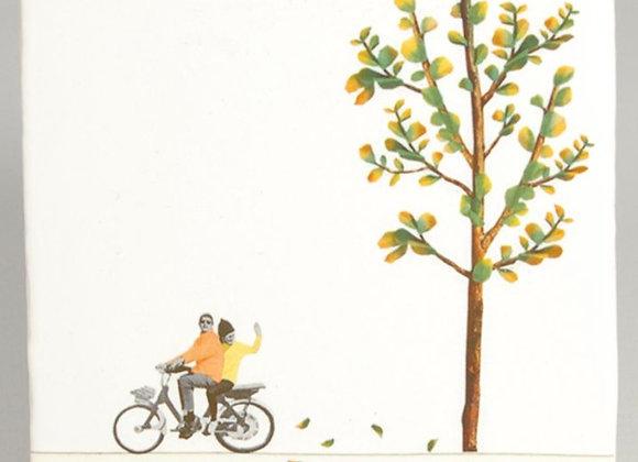 Petits tableaux carrelage thème cyclistes