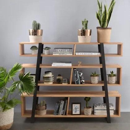 Bibliothèque  chêne et métal