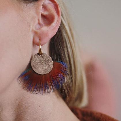 Boucles d'oreille plumes et cuir