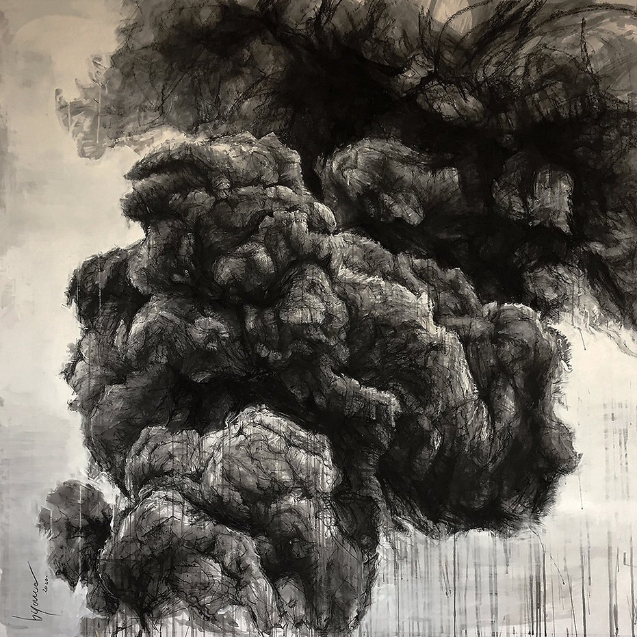 Black smoke. Dessin. Hyane. 2020.