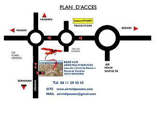 Plan d'accès à la base Ulm de Sauvian 34