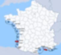 Carte des secteurs d'affichage publicité aérienne en France