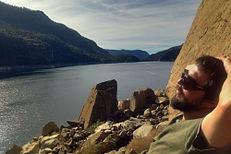 Echo Adventures member relaxing in Yosemite's Hetch Hetchy region near Wapama Falls