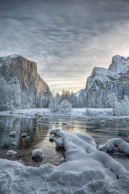 El Capitain, Merced River, and Bridalveil Falls in Yosemite National Park
