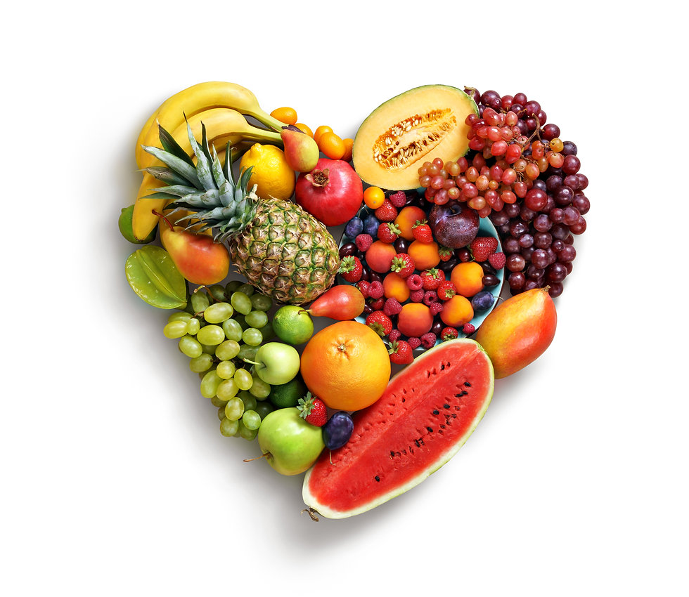 Heart symbol. Fruits diet concept. Food