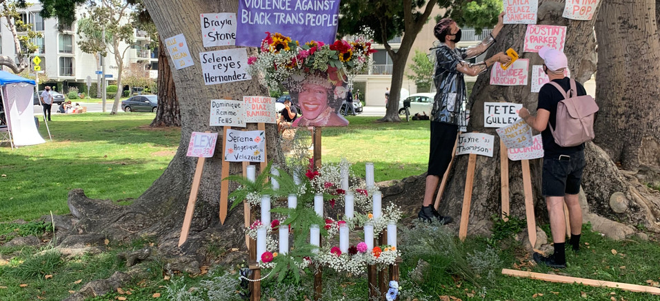 Floral crowns in front of Marsha P. Johnson memorial