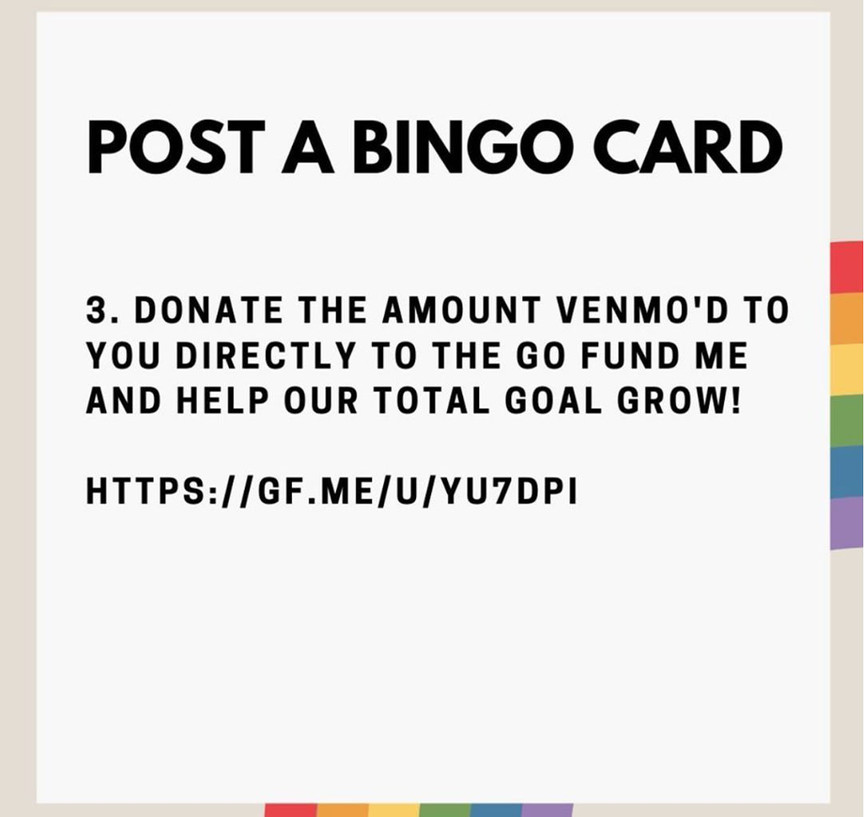 Post to your social media and after you filled out the card, donate the amont directly to our gofundme