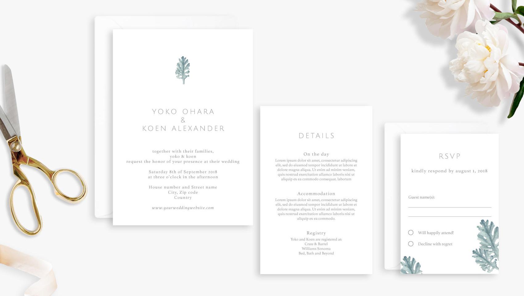 Invitation, Details, RSVP