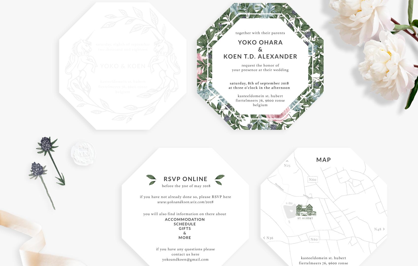 Invitation: Letter press card, Invitation, RSVP, Map, Wax seal