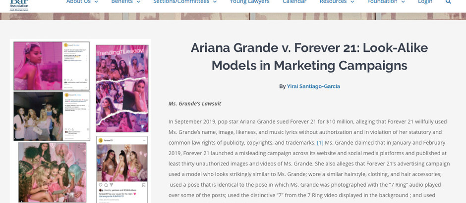 Ariana Grande v. Forever 21: Look-Alike Models in Marketing Campaigns