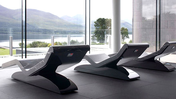 """CLEOPATRA """"MODERNO"""" INFRARED HEATED LOUNGERS, HEATED LOUNGE CHAIRS, LUXURY HEATED LOUNGERS, HEATED CHAISE LOUNGES, SPA DESIGN, HEATED SPA LOUNGERS, WELLNESS LOUNGERS, HEATED BENCHES"""