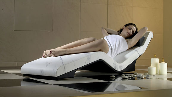 "CLEOPATRA ""BASICO"" INFRARED HEATED LOUNGERS, HEATED LOUNGE CHAIRS, LUXURY HEATED LOUNGERS, HEATED CHAISE LOUNGES, SPA DESIGN, HEATED SPA LOUNGERS, WELLNESS LOUNGERS, HEATED BENCHES"