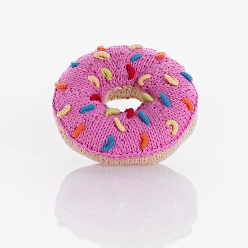 PebbleChild Donut rattle - pink with multi sprinkles