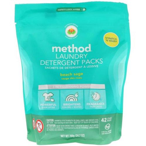 Method Laundry Detergent Packs - Beach Sage 42 Pc