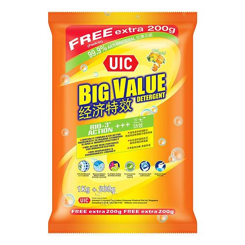 UIC Big Value Detergent Powder - Regular (Citrus Splash) 1kg + 200g